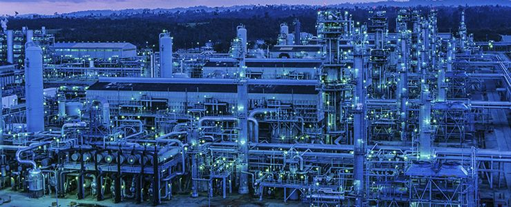 Picture of LNG plant at night